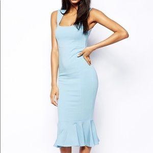 Midi Blue Peplum Hem Dress Size XS